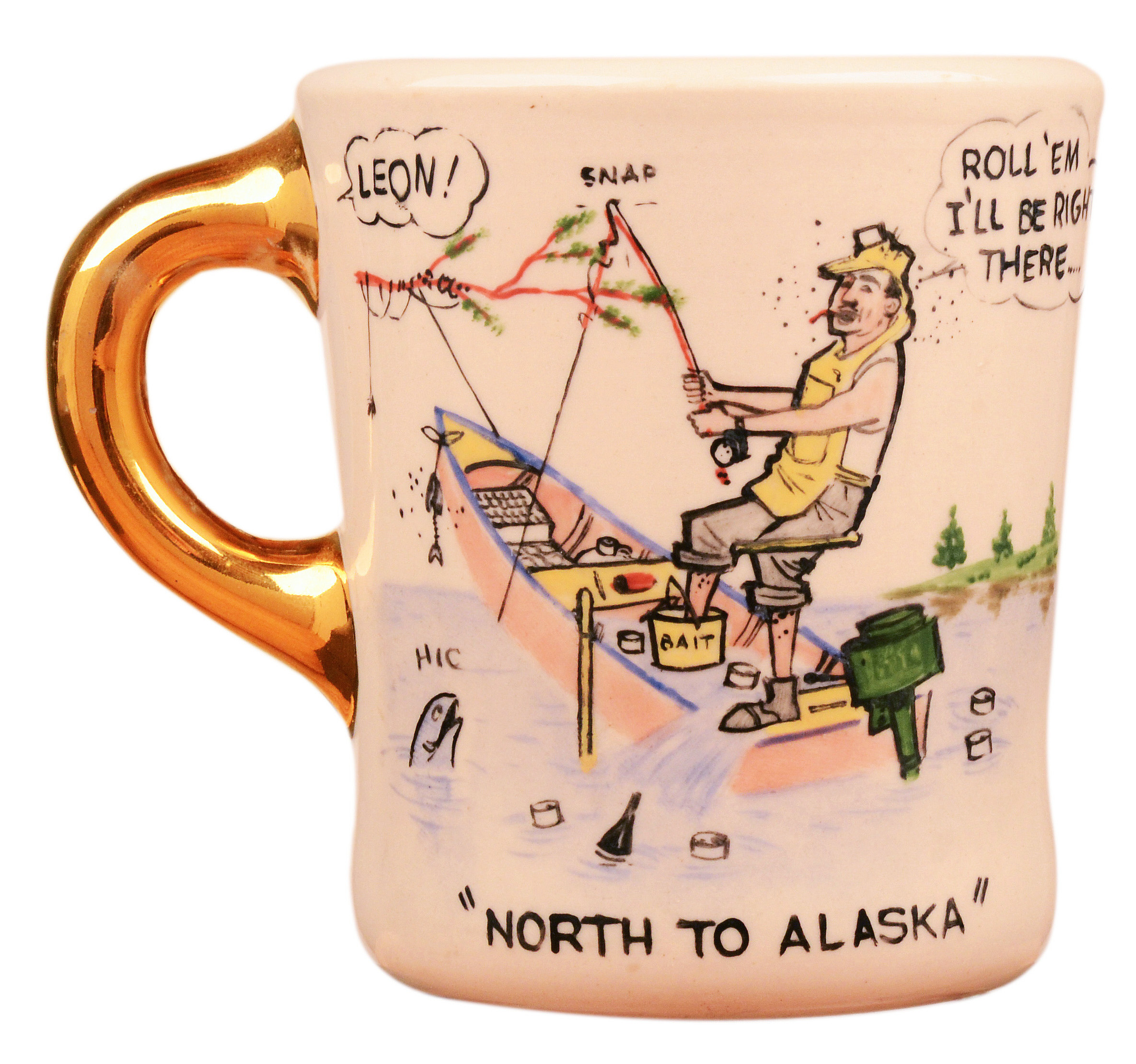 John Wayne mug for the 1960 movie North to Alaska, front.