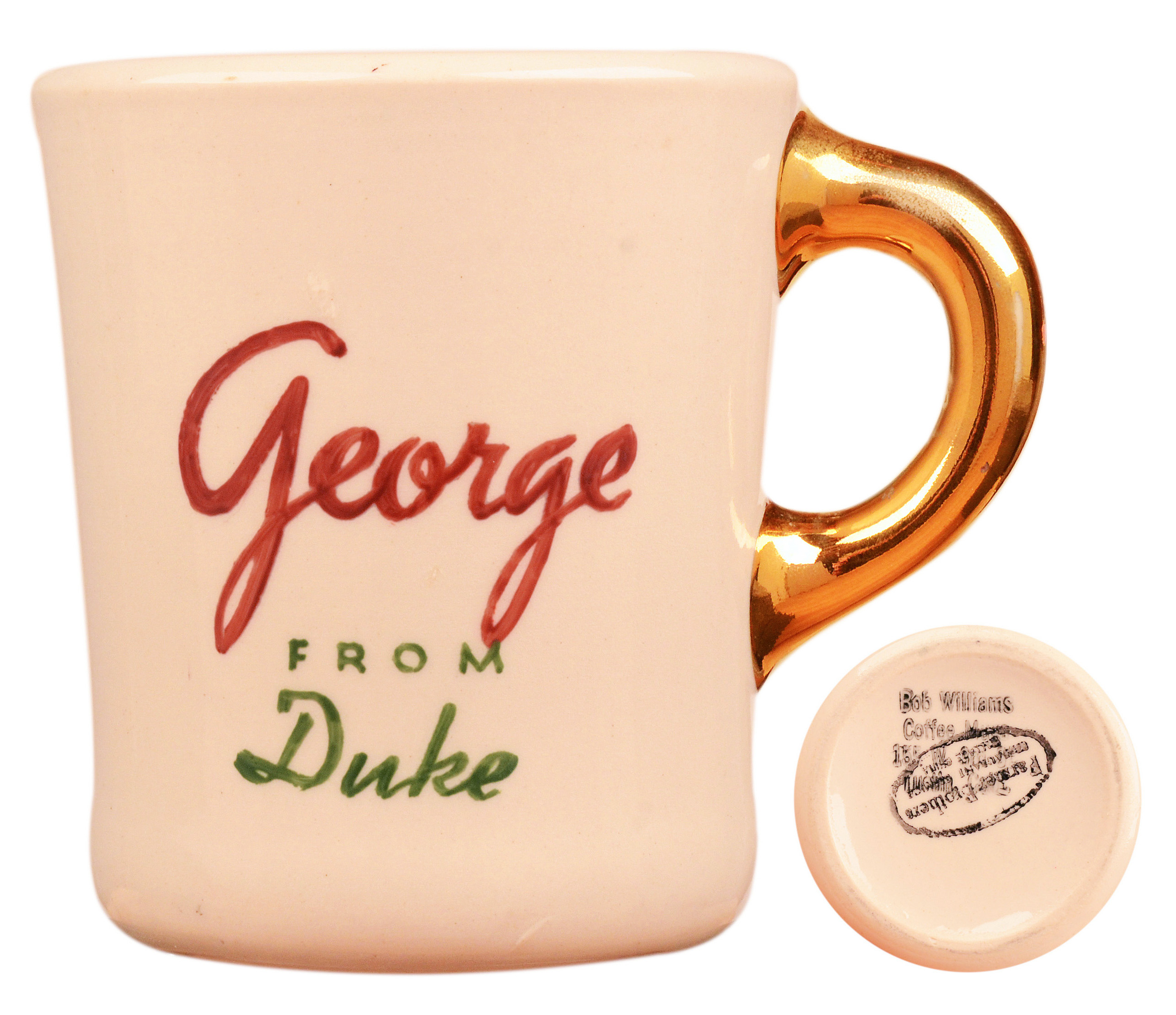 John Wayne mug for the 1960 movie North to Alaska, back.
