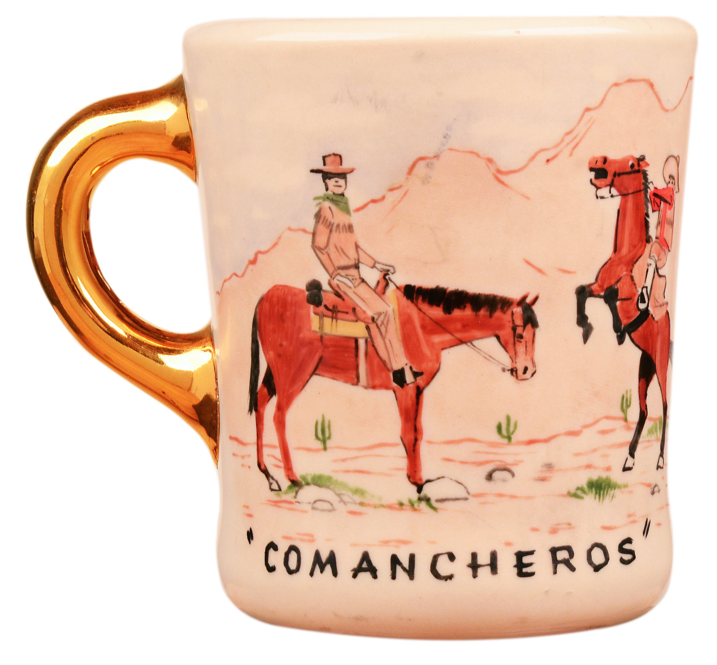 John Wayne mug for the 1961 movie The Comancheros, front.