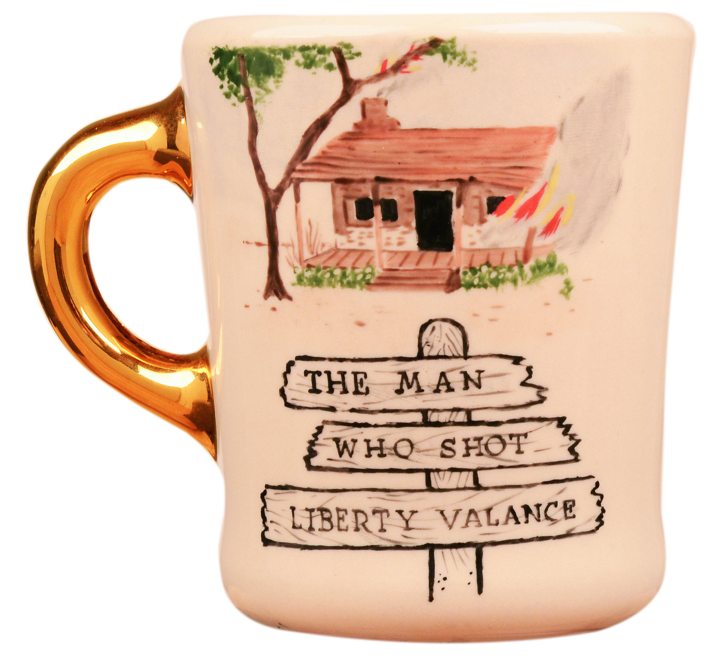 John Wayne mug for the 1962 movie The Man Who Shot Liberty Valance, front.