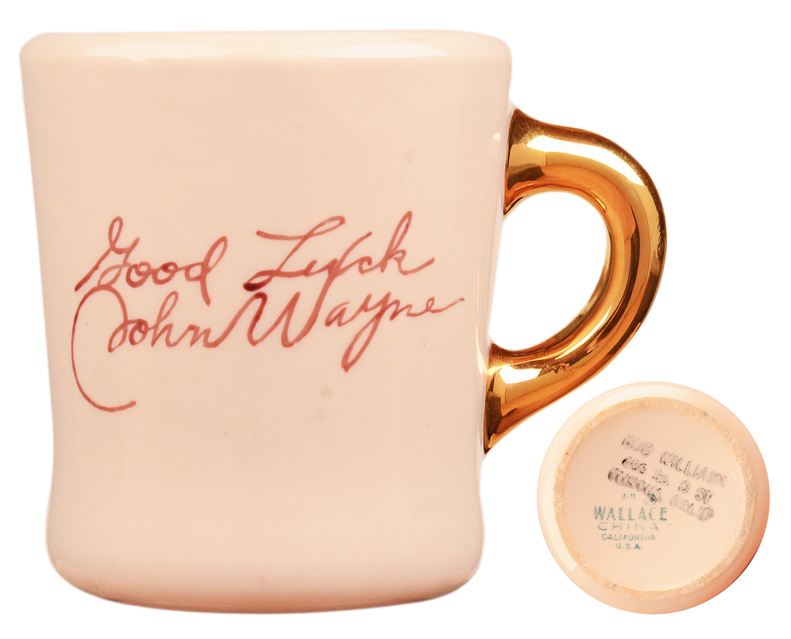 John Wayne mug for the 1962 movie Hatari, back.