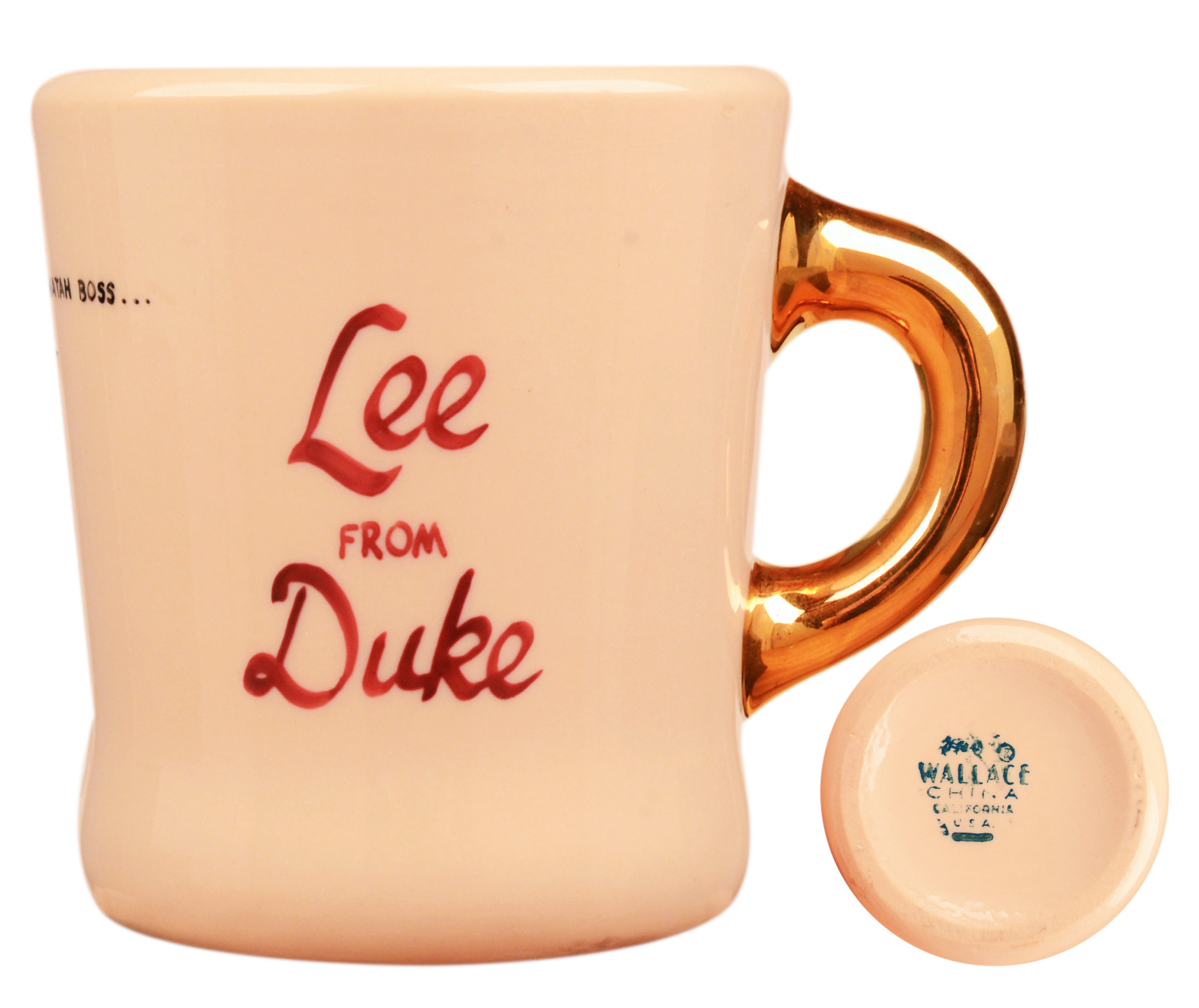John Wayne mug for the 1963 movie Donovan's Reef, back.