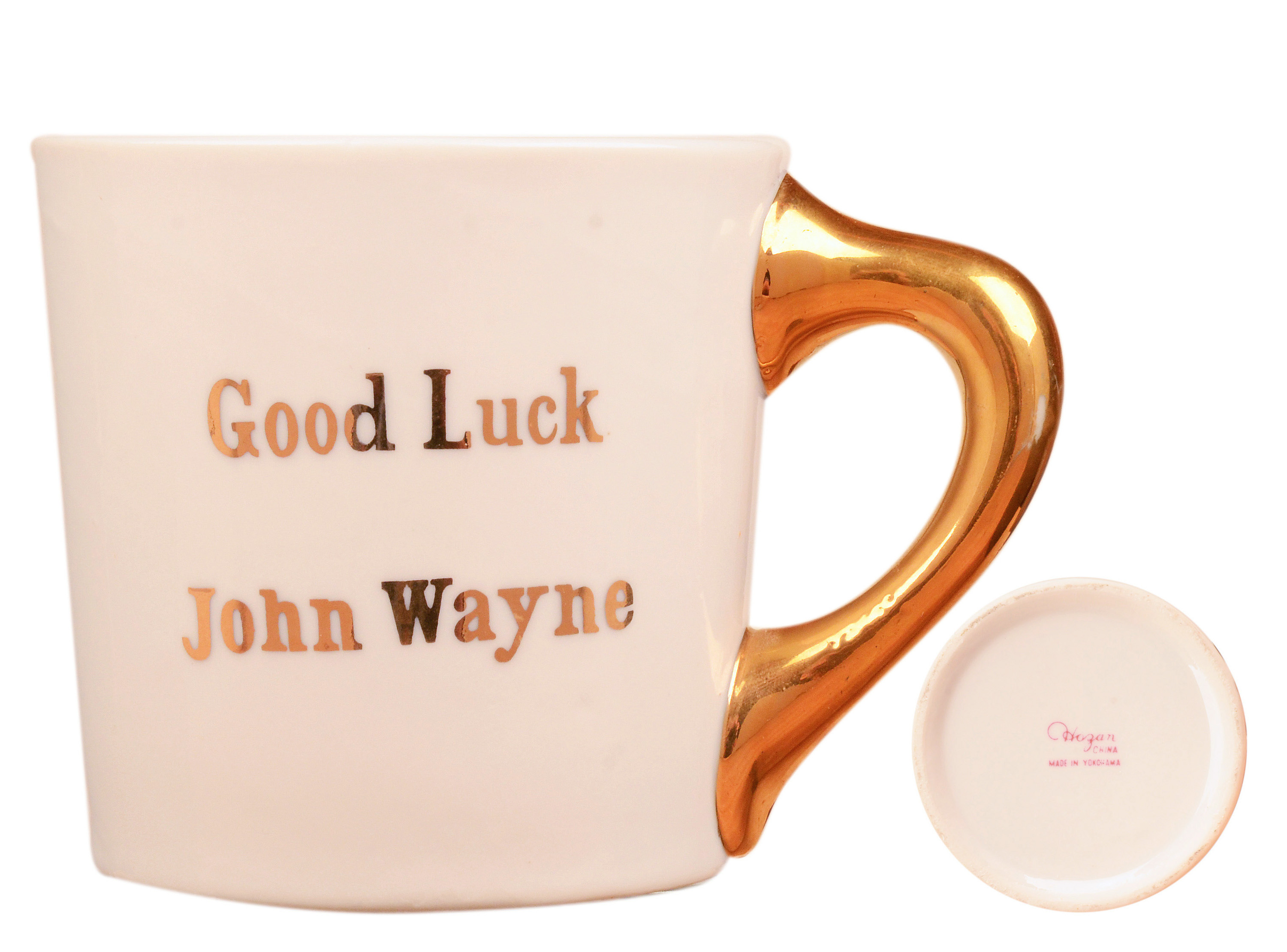 John Wayne mug for the 1964 movie Circus World, back.