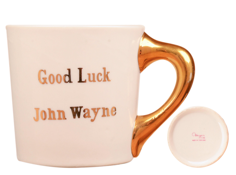 John Wayne mug for the 1964 movie Circus World, back.