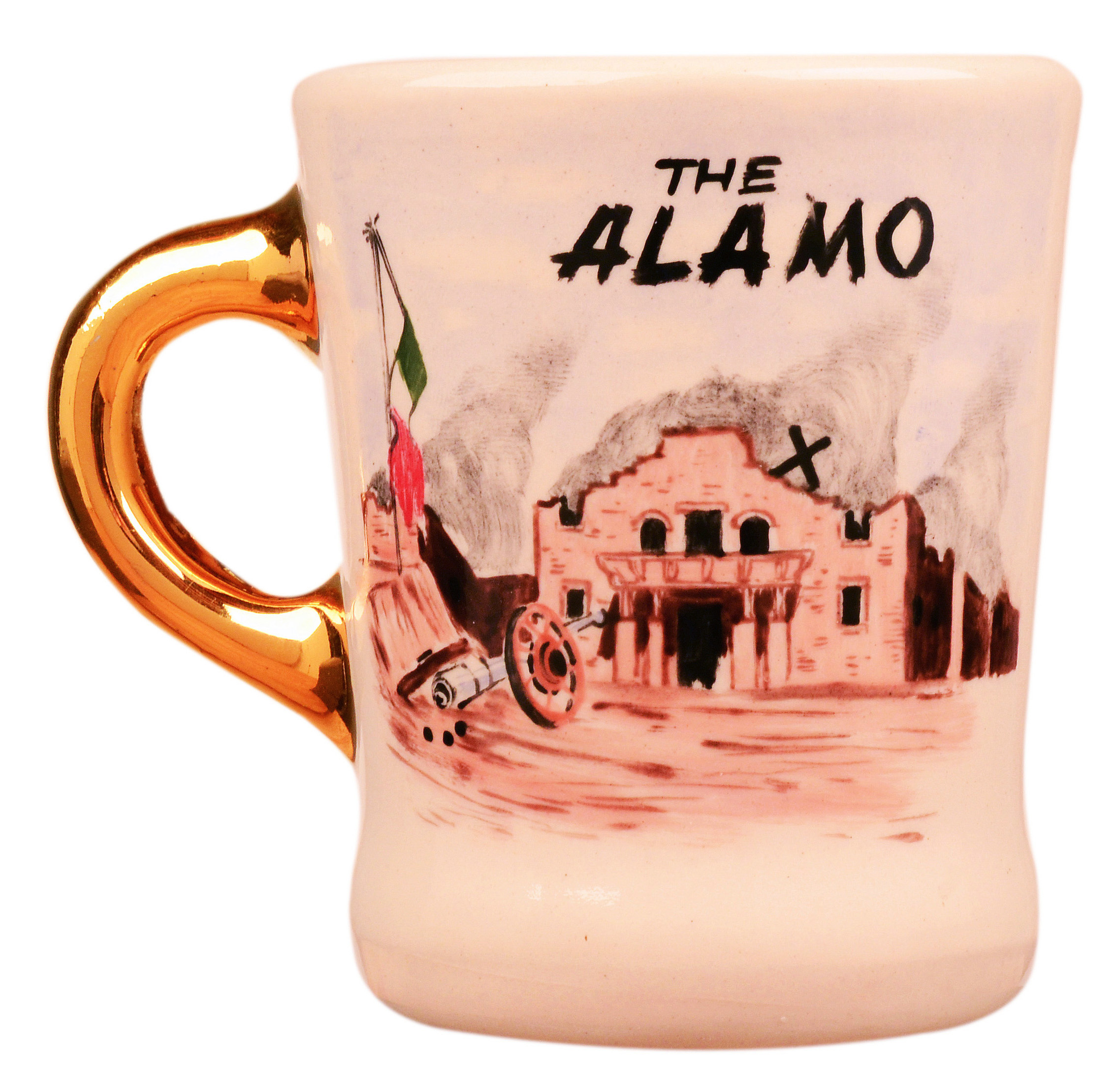 John Wayne mug for the 1960 movie The Alamo, front.