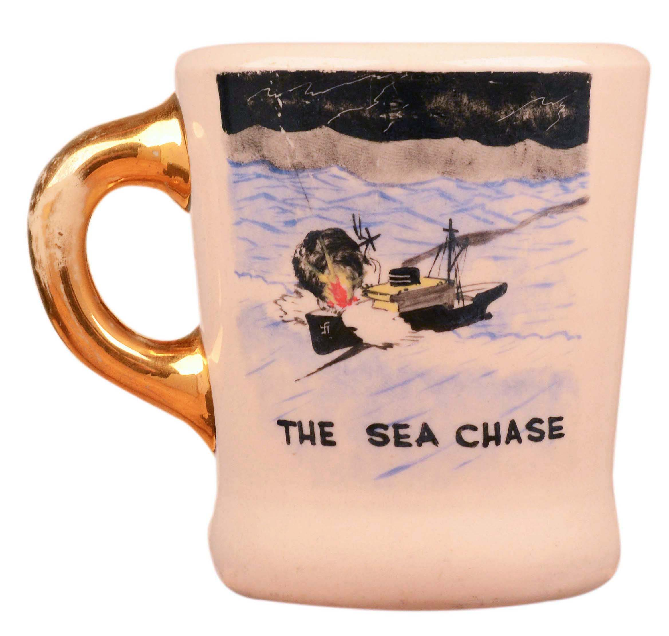 John Wayne mug for the 1955 movie The Sea Chase, front.