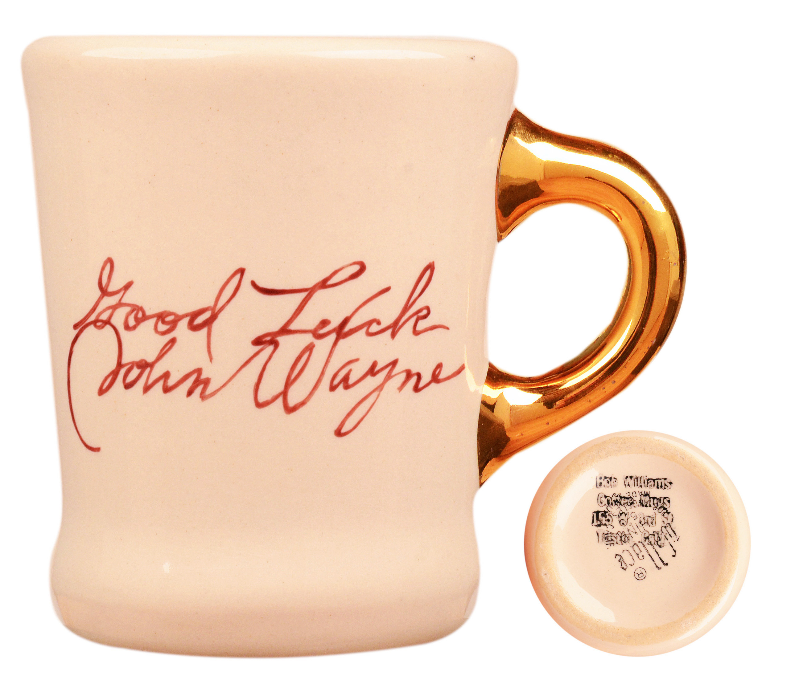 John Wayne mug for the 1960 movie The Alamo, back.