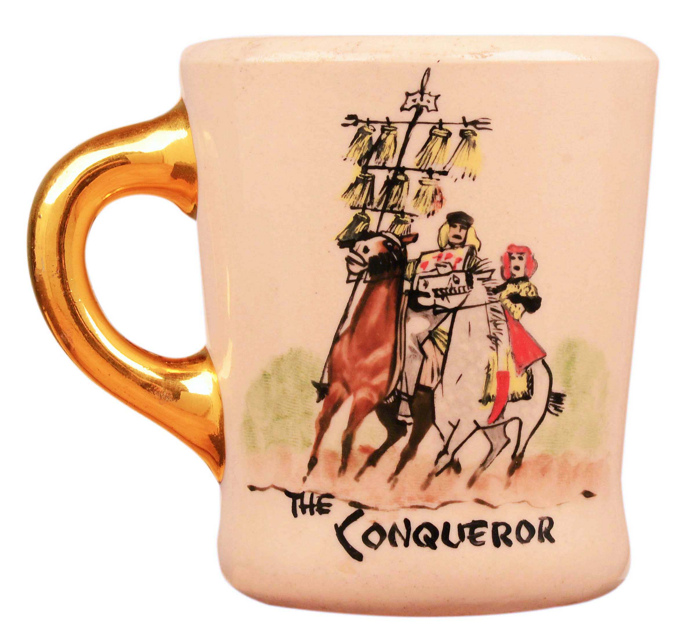 John Wayne mug for the 1956 movie The Conqueror, front.