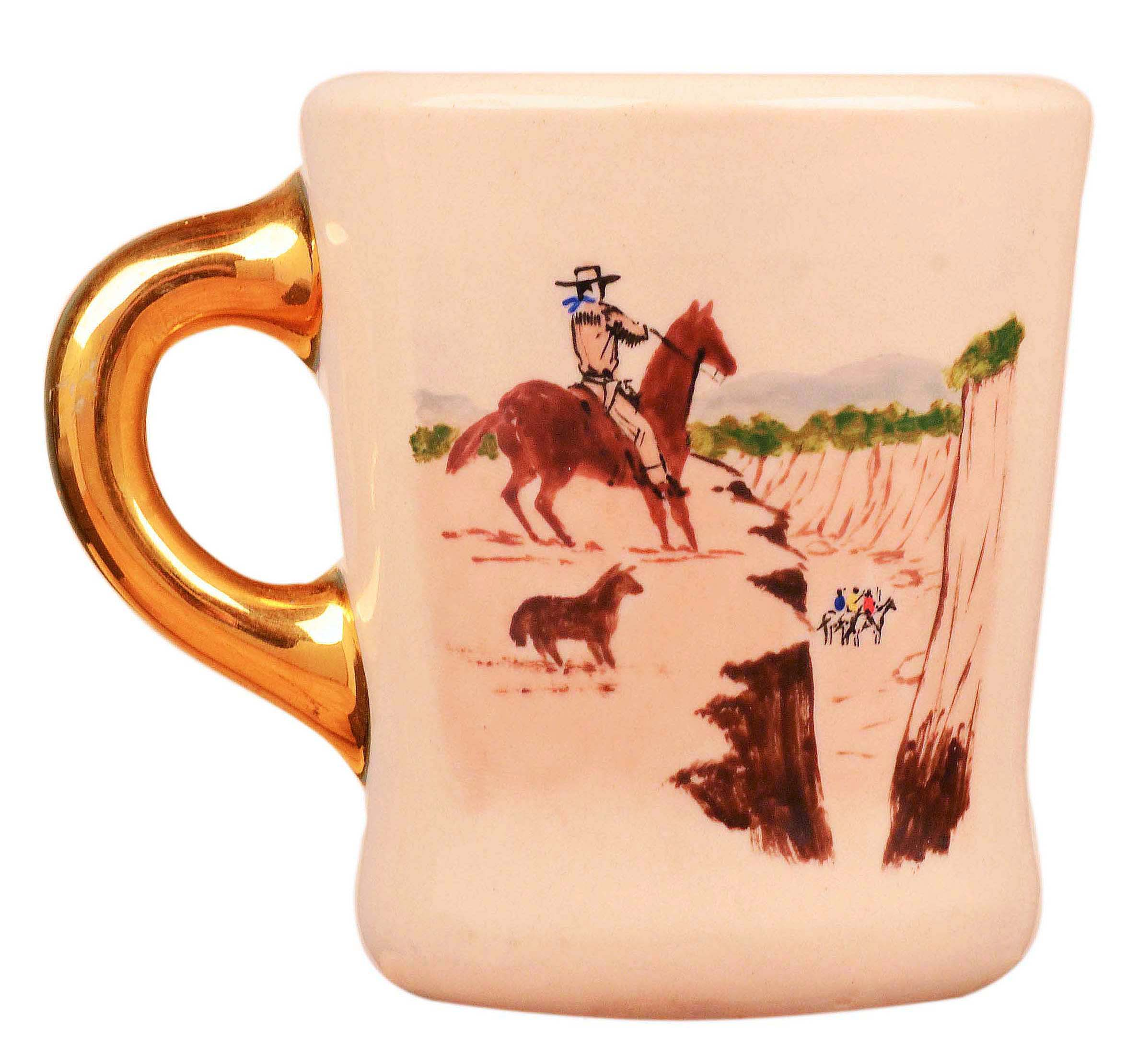 John Wayne mug for the 1953 movie Hondo, front.