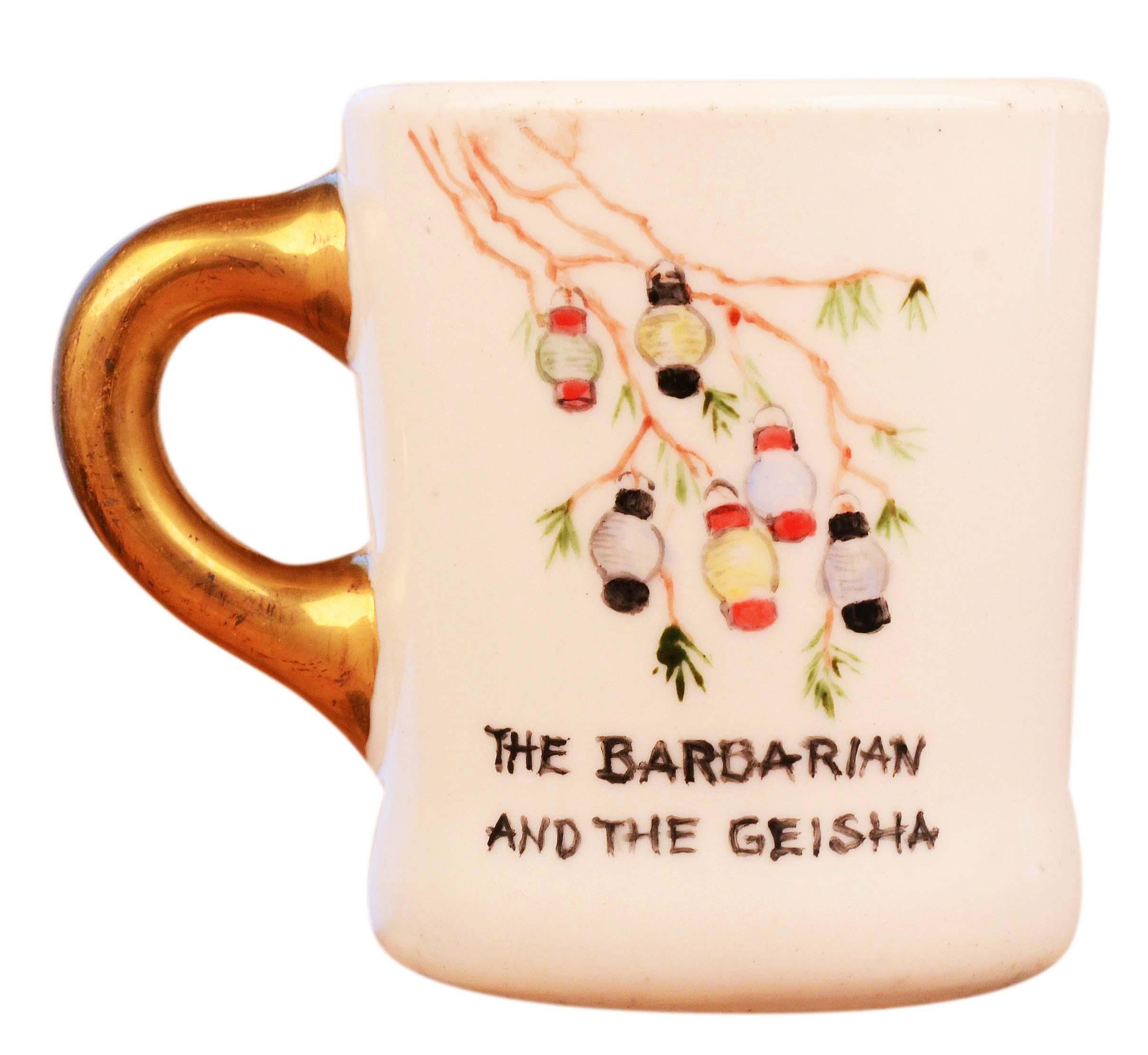John Wayne mug for the 1958 movie Barbarian and the Geisha, front.
