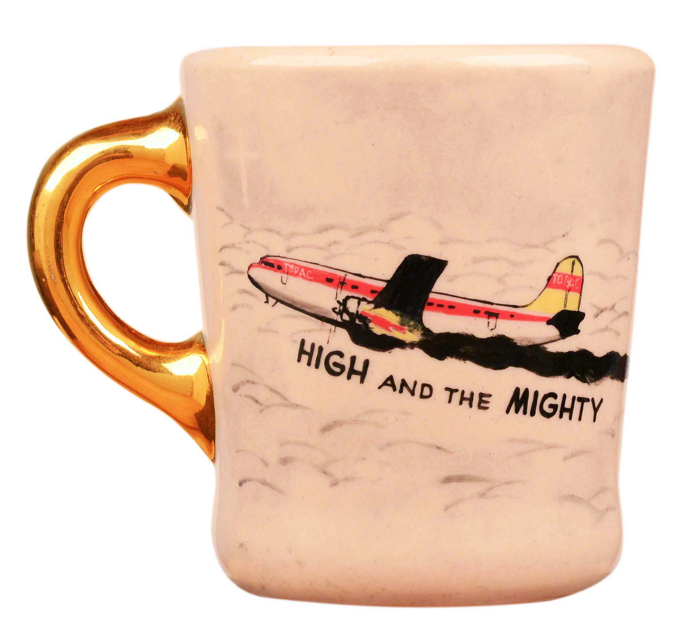 John Wayne mug for the 1954 movie The High and Mighty, front.