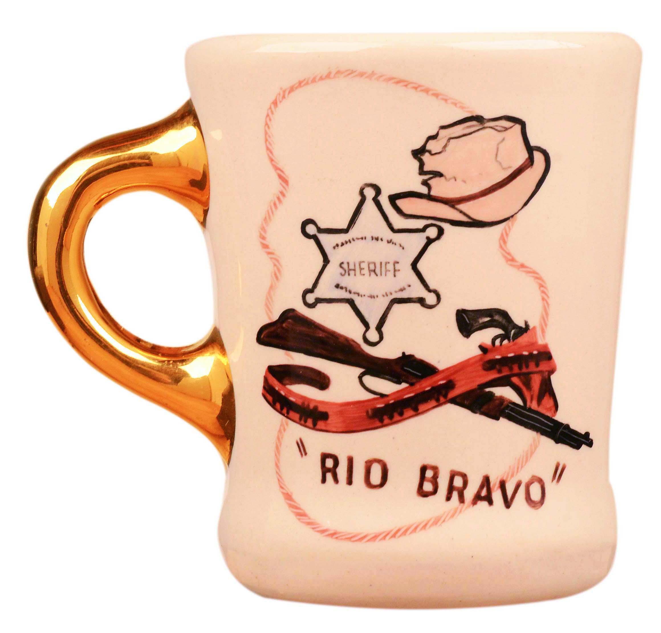 John Wayne mug for the 1959 movie Rio Bravo, front.