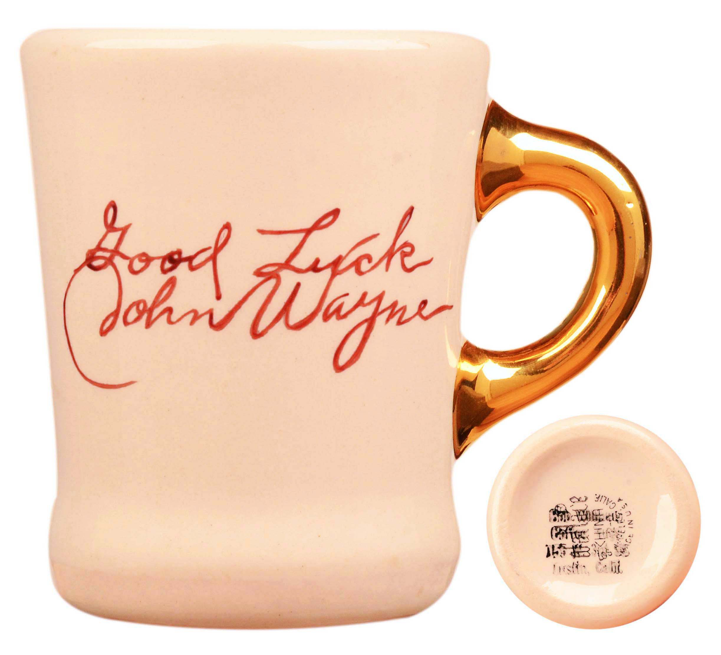 John Wayne mug for the 1959 movie Rio Bravo, back.