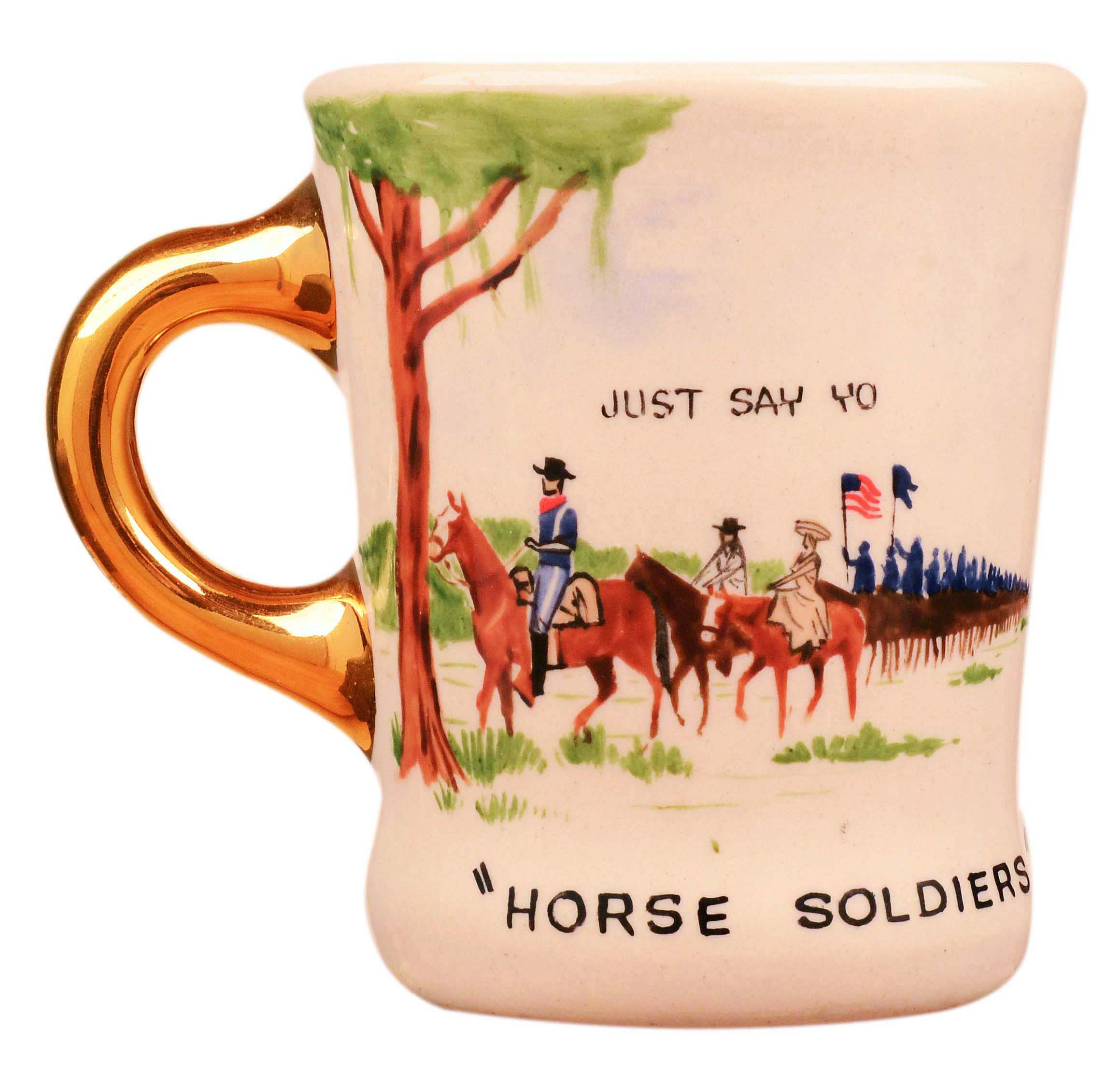 John Wayne mug for the 1959 movie The Horse Soldiers, front.